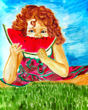 green cute: Cute little girl eating watermelon over green grass, hand drawn artwork