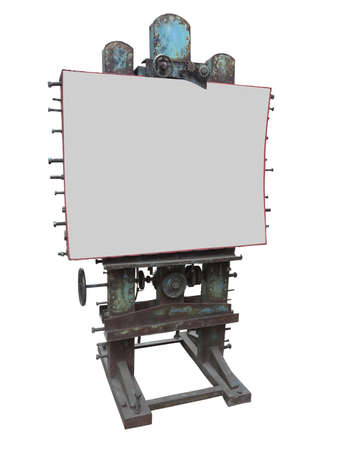 advertising space: Stylish industrial style advertising panel with rusty gear and bolt and white blank space, isolated