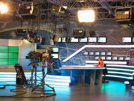 """produktion: 13.04.2014, MOLDAWIEN """"Publika TV"""" NEWS Studio mit Licht Ausrüstung bereit für recordind Release."""