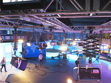13.04.2014, MOLDOVA, Publika TV NEWS studio with light equipment ready for recordind release.