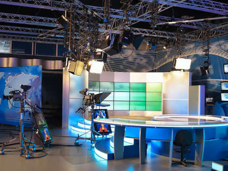 television show: 13.04.2014, MOLDOVA, Publika TV NEWS studio with light equipment ready for recordind release.