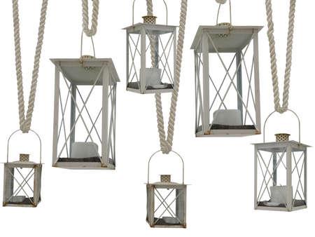 blue light background: Vintage old rusty white lantern on rope set  isolated. Stock Photo