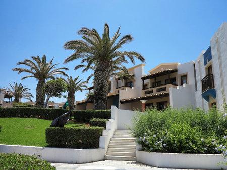 minoan: 16.06.2015. Crete, Greece. Luxury view of greek village on Crete in tropical minoan style architecture Editorial