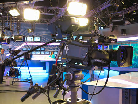 control panel lights: 05.04.2015, MOLDOVA, Publika TV NEWS studio with light equipment ready for recording release.