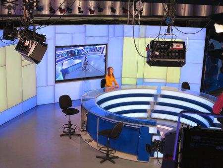 control panel lights: 05.04.2015, MOLDOVA, Publika TV NEWS studio with light equipment ready for recording release.