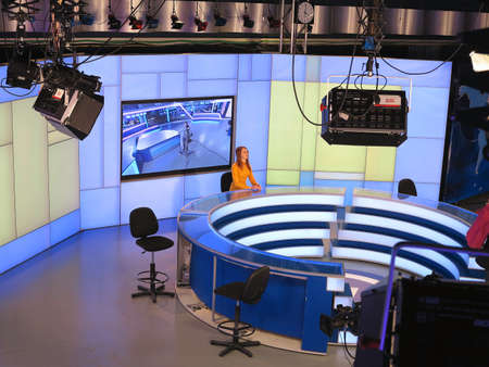 05.04.2015, MOLDOVA, Publika TV NEWS studio with light equipment ready for recording release.