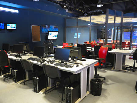 control panel lights: 05.04.2015, MOLDOVA, Publika TV NEWS television studio office