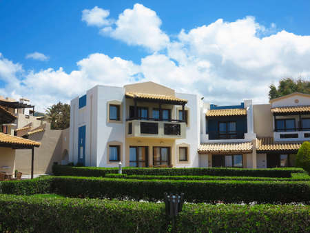 minoan: 25.06.2015 Crete Greece. Luxury view of greek village in tropical minoan style architecture Editorial