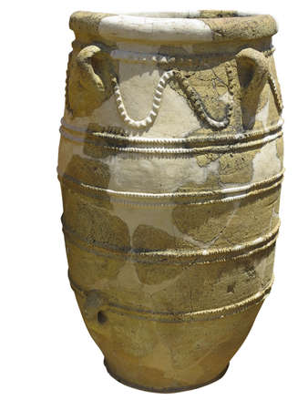minoan: Ancient clay Minoan decorated amphora isolated over white