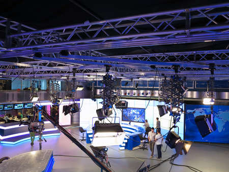 tv panel: 05.04.2015, MOLDOVA, Publika TV NEWS studio with light equipment ready for recordind release.