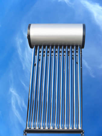water heater: tubes of solar water heater over blue sky background