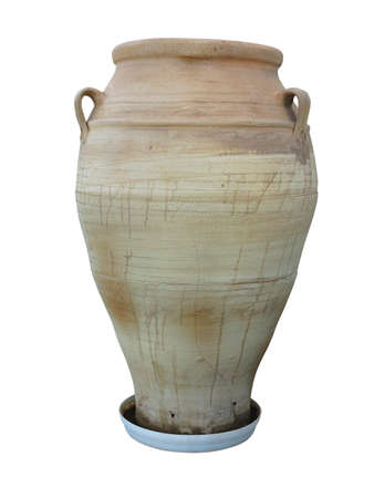 past civilization: Ancient clay Minoan decorated amphora isolated over white