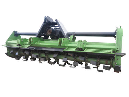 Green new farm cultivator plow for tractors isolated over white background