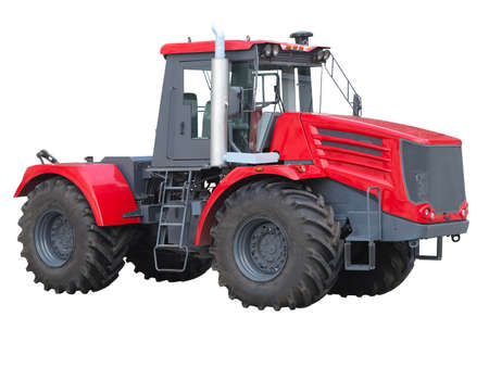 agronomics: New red powerful tractor isolated over white background Stock Photo