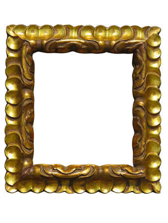 golden frame: Old vintage golden picture frame isolated on white background Stock Photo