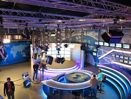control panel lights: 05.04.2015, MOLDOVA, Publika TV NEWS studio with light equipment ready for recordind release.