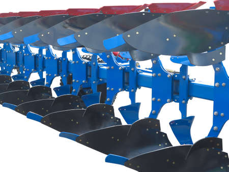 plough land: modern blue tractor plow row abstract isolated over white background