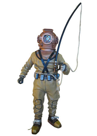 deep sea diver: Diving suit equipment isolated over white background