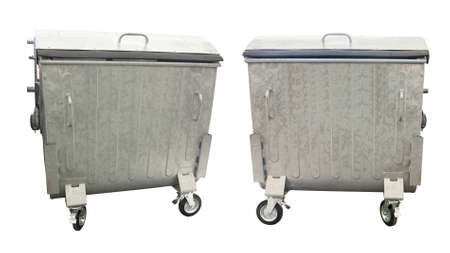 big bin: New metallic garbage containers isolated over white background