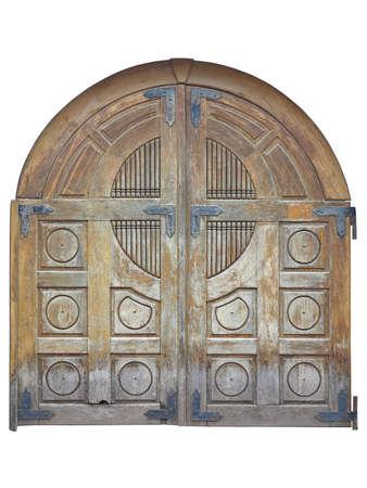 castello medievale: Vintage invecchiato marrone cancello di legno vecchio isolato su sfondo bianco. Archivio Fotografico