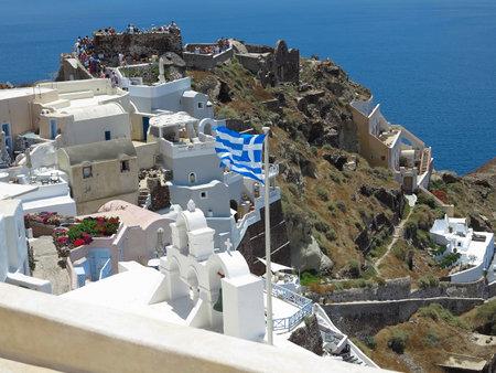 romantic sky: 18.06.2015, Crete, Greece. Romantic beautiful cityscape and blue sky of Oia on Santorini island in Greece.