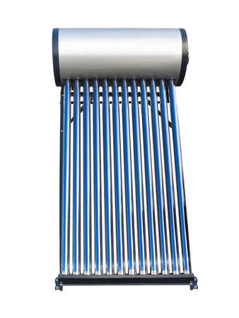 solar collector: Blue tubes of solar water heater over white background