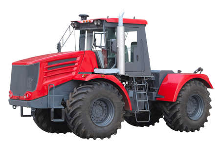 old tractors: New red powerful tractor isolated over white background Stock Photo