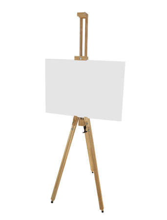 artist's canvas: wooden easel with blank picture canvas isolated on white background Stock Photo