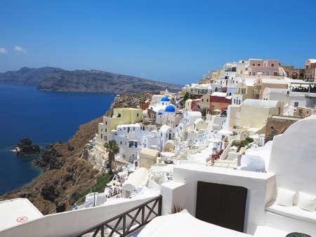 romantic sky: Romantic beautiful cityscape and blue sky of Oia on Santorini island in Greece.