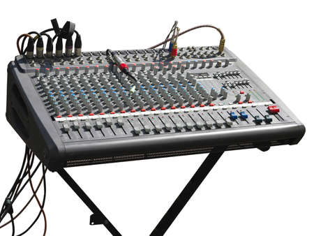 soundboard: Electronic soundboard mixer console desk with cables isolated over white