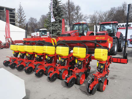 05.03.2016, Moldova, Chisinau: New seeder and tractors at exhibition of agricultural machinery Editorial