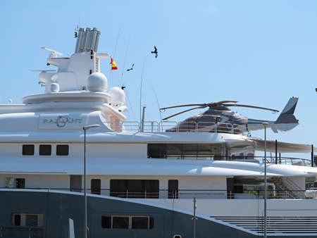 super yacht: 11.07.2016, Barcelona, Spain: Detail of luxury large super yacht in the port Editorial