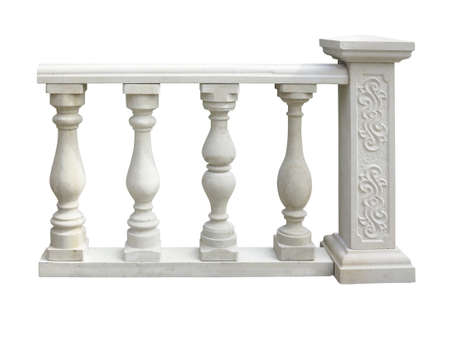 balustrade: Classic stone balustrade with column isolated over white background