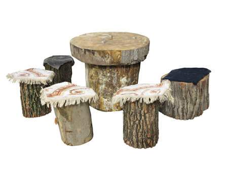 garden furniture: Garden furniture made from wooden log isolated on white background
