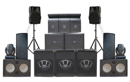 amp: Big group of old industrial powerful stage sound speakers isolated over white background Stock Photo