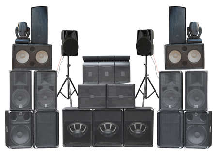 Big group of old industrial powerful stage sound speakers isolated over white background Stockfoto