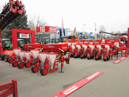 18.03.2017, Moldova, Chisinev: New plow and agricultural implements at a farmer exhibition