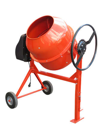 concrete background: Red electric concrete mixer isolated on the white background