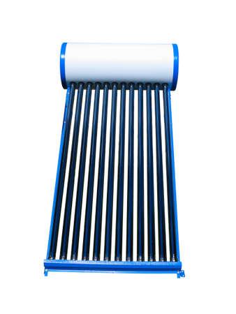 Zonne water hitte blauwe pijp collector geïsoleerd op witte achtergrond Stockfoto - 75936164
