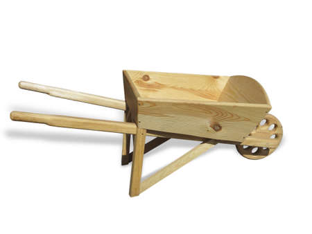 Empty wooden wheelbarrow cart for the garden isolated over white background Stock Photo
