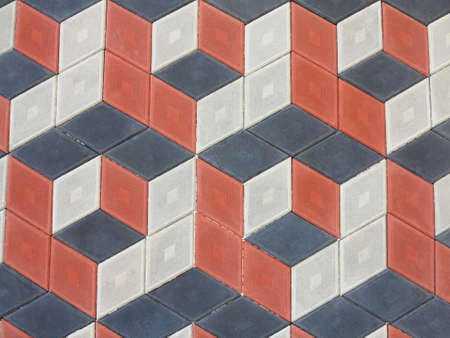 Abstract geometrical brick stone pavement black and red pattern. Imagens - 75936165