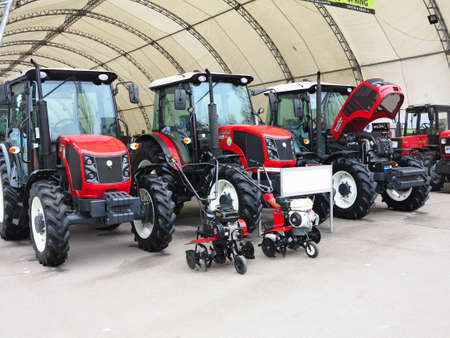 18.03.2017, Moldova, Chisinev: New tractors for sale at a farmers exhibition