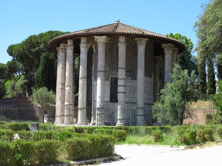 19.06.2017, Roma, Italy: Circular temple of Hercules Victor formerly Temple of Vesta. Built in 120 BC. Piazza Bocca della Verita, area of Forum Boarium.