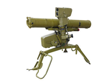 Old green russian anti-tank rocket louncher isolated on white background         Stock Photo