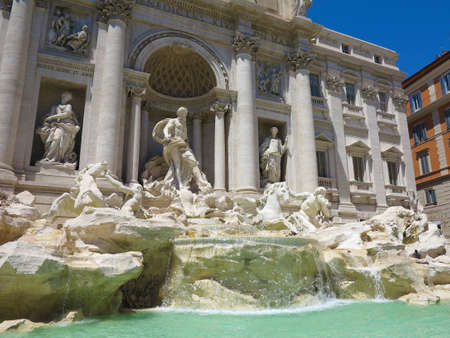 Famous Trevi fountain baroque architecture and landmark in Rome, Italy.