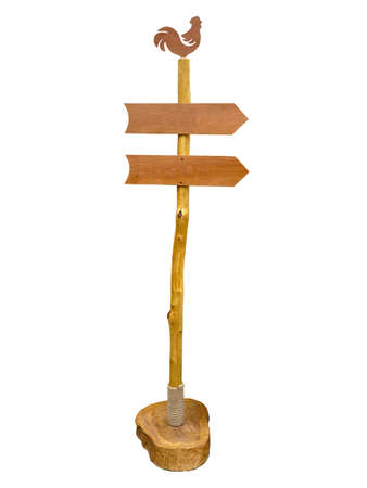 Empty wooden arrow sign post or road signpost isolated over white Stock Photo