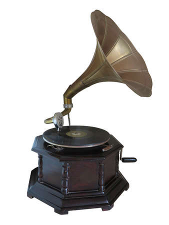 Vintage old gramophone record player isolated over white background Stock Photo