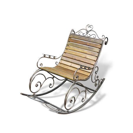 Vintage metallic wooden forged rocking chair isolated over white background