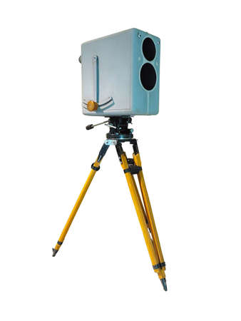 Retro ancient TV Professional studio old video camera on tripod isolated over white background 版權商用圖片