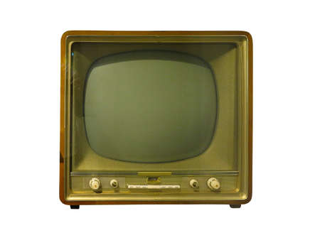 Vintage classic retro old TV receiver isolated over white background